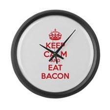 Keep calm and eat bacon Large Wall Clock