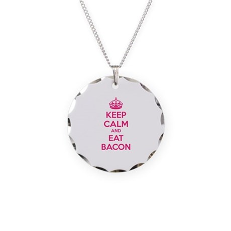 Keep calm and eat bacon Necklace Circle Charm