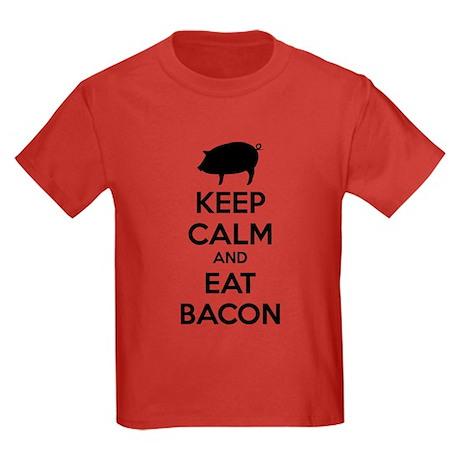 Keep calm and eat bacon Kids Dark T-Shirt