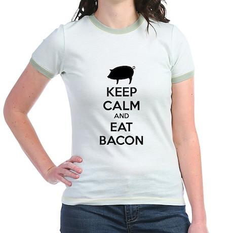 Keep calm and eat bacon Jr. Ringer T-Shirt