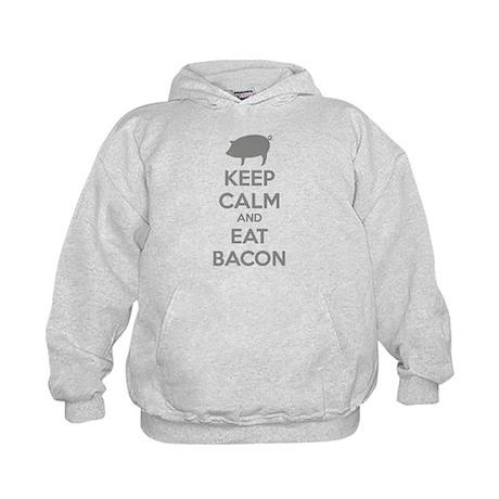 Keep calm and eat bacon Kids Hoodie
