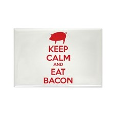 Keep calm and eat bacon Rectangle Magnet (10 pack)