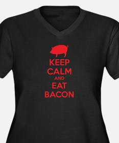 Keep calm and eat bacon Women's Plus Size V-Neck D