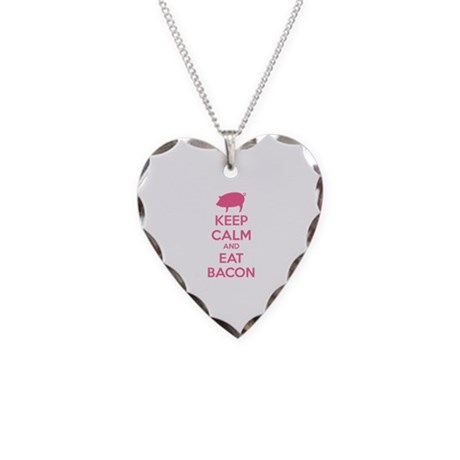 Keep calm and eat bacon Necklace Heart Charm