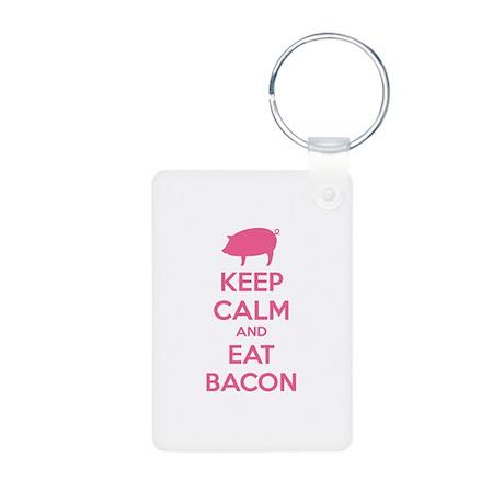 Keep calm and eat bacon Aluminum Photo Keychain