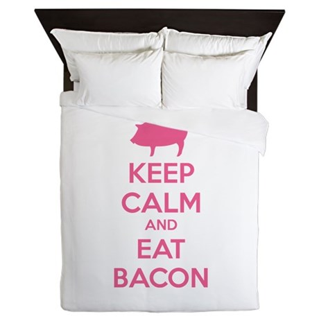 Keep calm and eat bacon Queen Duvet