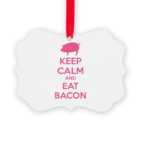 Keep calm and eat bacon Picture Ornament