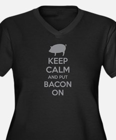 Keep calm and put bacon on Women's Plus Size V-Nec