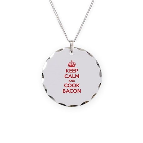 Keep calm and cook bacon Necklace Circle Charm