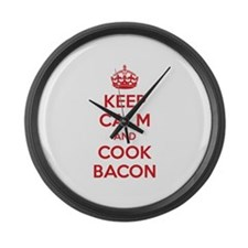 Keep calm and cook bacon Large Wall Clock