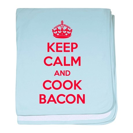 Keep calm and cook bacon baby blanket