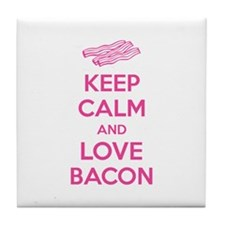 Keep calm and love bacon Tile Coaster