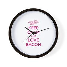 Keep calm and love bacon Wall Clock