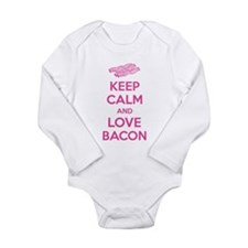 Keep calm and love bacon Long Sleeve Infant Bodysu