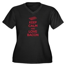 Keep calm and love bacon Women's Plus Size V-Neck