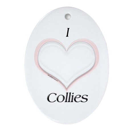 Collie Heart Oval Ornament