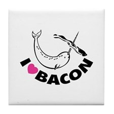 I love bacon narwhal Tile Coaster