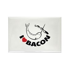 I love bacon narwhal Rectangle Magnet