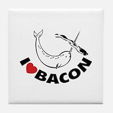 I love bacon narwhal Tile Coaster