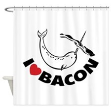 I love bacon narwhal Shower Curtain