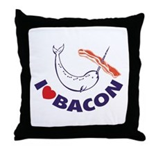 I love bacon narwhal Throw Pillow