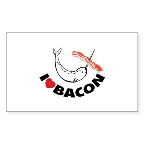 I love bacon narwhal Sticker (Rectangle)