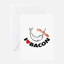 I love bacon narwhal Greeting Card