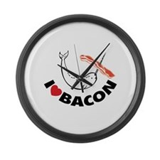 I love bacon narwhal Large Wall Clock