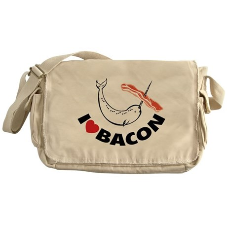 I love bacon narwhal Messenger Bag