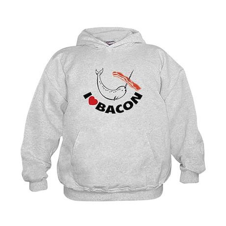 I love bacon narwhal Kids Hoodie