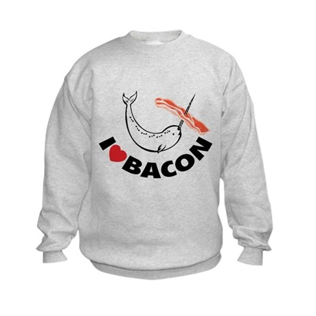 I love bacon narwhal Kids Sweatshirt