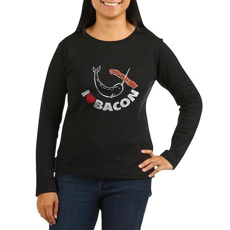 I love bacon narwhal Women's Long Sleeve Dark T-Sh
