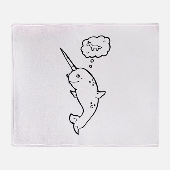 narwhal dreaming of unicorns Throw Blanket
