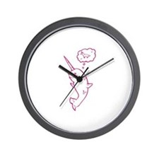 narwhal dreaming of unicorns Wall Clock