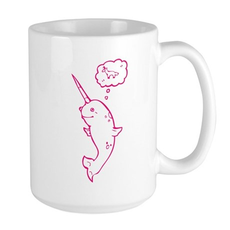 narwhal dreaming of unicorns Large Mug