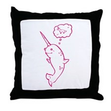 narwhal dreaming of unicorns Throw Pillow
