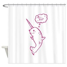 narwhal dreaming of unicorns Shower Curtain