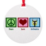 Peace Love Orchestra Round Ornament