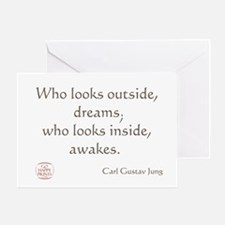 Who looks outside, dreams Greeting Card