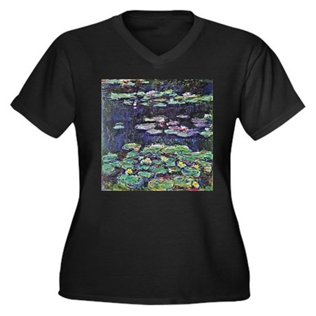 Claude Monet Water Lilies Women's Plus Size V-Neck