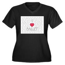 Unique Ballet dancer Women's Plus Size V-Neck Dark T-Shirt