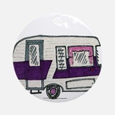 Cutie Purple VIntage Trailer Ornament (Round)