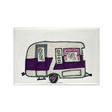 Cutie Purple VIntage Trailer Rectangle Magnet