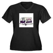 Cutie Purple VIntage Trailer Women's Plus Size V-N