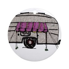Vintage Airstream Camper Trailer Art Ornament (Rou