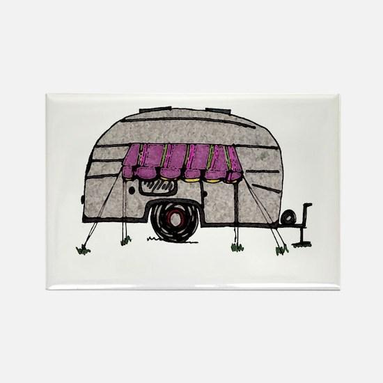 Vintage Airstream Camper Trailer Art Rectangle Mag