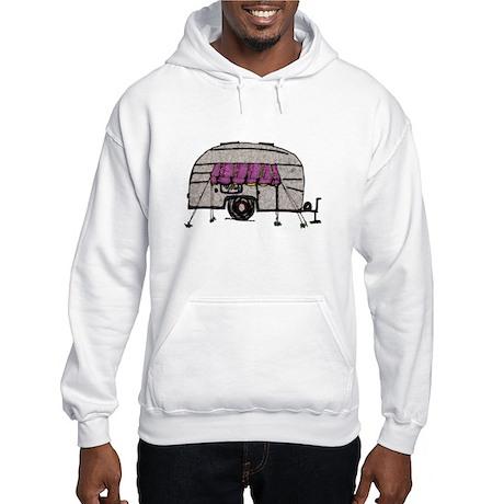 Vintage Airstream Camper Trailer Art Hooded Sweats