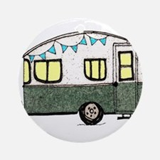 Vintage Camper Trailer with flags Ornament (Round)