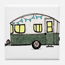 Vintage Camper Trailer with flags Tile Coaster
