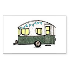 Vintage Camper Trailer with flags Bumper Stickers